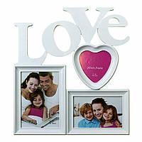 Фоторамка или рамка для фото, купить мультирамку коллаж из фотографий на стену Youngpig «Love»с сердцем 37х34х2 см  белая(534)