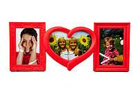 Фоторамка или рамка для фото, купить мультирамку коллаж из фотографий на стену Youngpig 45х20х2 красная (707)
