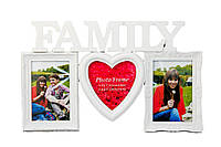 "Мультирамка,  3 фотографии, ""Family"" белая, Белый, Пластик, Коллаж из 3-х фото"