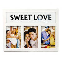 "Мультирамка, 3 фотографии, ""Sweet love"" белая, Белый, Пластик, Коллаж из 3-х фото"