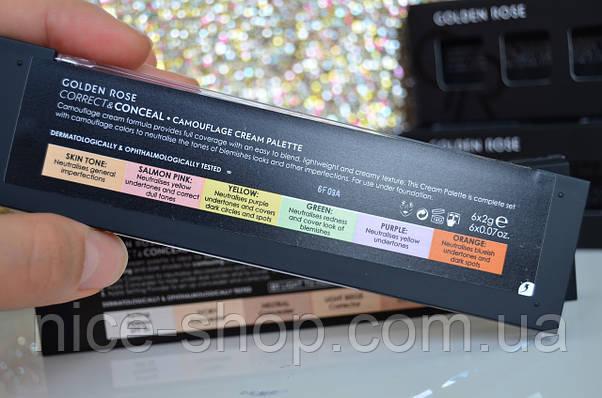 Палитра консилеров для лица Golden Rose Correct&Conceal Concealer Cream Palette-цветная, фото 3
