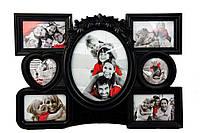 """Мультирамка, 7 фотографий, """"Family"""" 2 цвета, Черный, Черный, Пластик, Коллаж из 7-х фото"""