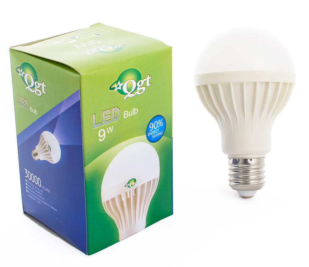 Светодиодная лампа Led или лед лампочка, купить энергосберегающию диодную лампу QGT 9W 6000K 220V E27 (780)