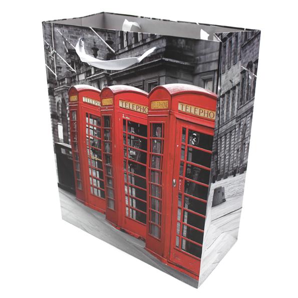 Подарочный бумажный пакет, оригинальня упаковка для подарка «Телефонная будка»
