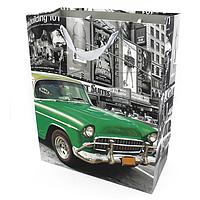 Подарочный бумажный пакет, оригинальня упаковка для подарка «Авто» зеленая