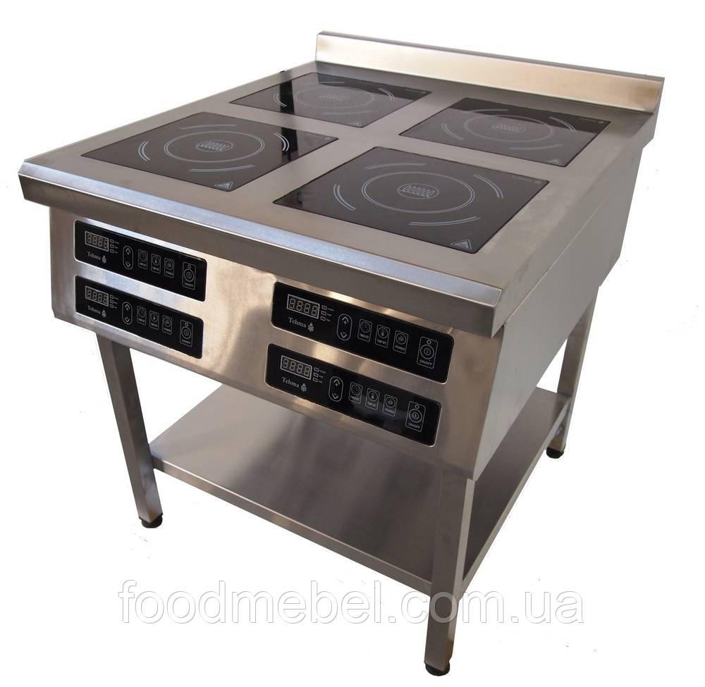Индукционная плита Tehma 4х3,5 кВт четырехконфорочная напольная для кафе и столовой