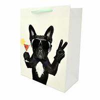 Подарочный бумажный пакет, оригинальня упаковка для подарка «Бульдог»