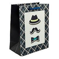 Подарочный бумажный пакет, оригинальня упаковка для подарка «Мистер» средний