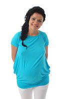 Летняя туника для беременных с завязками ДЕЛОВАЯ МАМА (голубой, размер M), фото 1