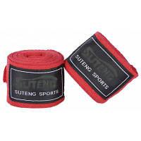 SUTENG 1 пара хлопок бокс Handwrap пробивать боевые повязки Красный