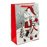 Подарочный бумажный пакет, оригинальня упаковка для подарка «Санта» большой