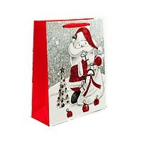 Подарочный бумажный пакет, оригинальня упаковка для подарка «Санта» малый