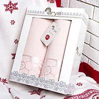 Подарочный набор полотенец Arya Fleures персиковый