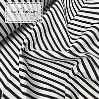Хлопковая ткань с черной полоской на белом фоне №348