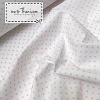 Хлопковая ткань с розовым горошком 4мм на белом фоне  №357