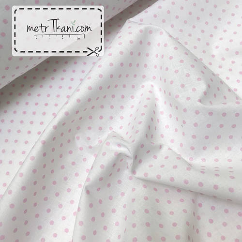 ad2e496d1c6 Хлопковая ткань с розовым горошком 4мм на белом фоне №357 от  интернет-магазина тканей и фурнитуры