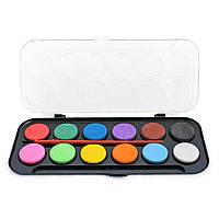 Краски акварельные 12 цветов в черной пластиковой упаковке