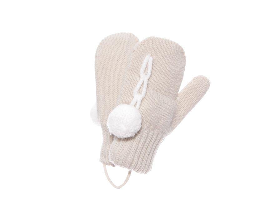 Дитячі теплі красиві в'язані рукавиці помпон