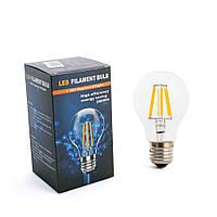 Лампа декоративная LED ЛАМПА FILAMENT BULB ,6W, ТЕПЛЫЙ СВЕТ, E27, E27 , Теплый (3000K) , Стандартная (груша)