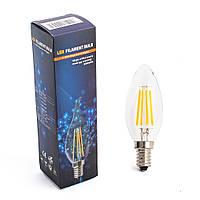 Лампа декоративная LED ЛАМПА FILAMENT BULB ,4W, ТЕПЛЫЙ СВЕТ, E14, E14 , Теплый (3000K) , Свеча