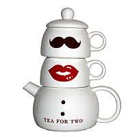 Набор оригинальных чашек и чайник, купить кружки для чая, кофе Youngpig «Мистер и Миссис» (294)