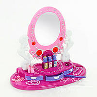 Зеркало детское трюмо на подставке с аксессуарами: свет, звук, на батарейке, в коробке