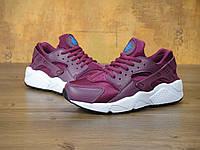 Кроссовки женские в стиле Nike Air Huarache, цвет - вишневый, материал - кожа+текстиль, подошва - пенка