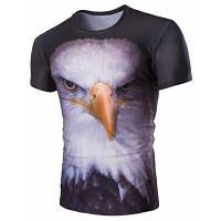 Стереоскопический Night Owl печати шею Короткие рукава футболки для мужчин 2XL