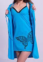 Пижама с халатом комплект женский домашний Бабочка хлопковый трикотажный