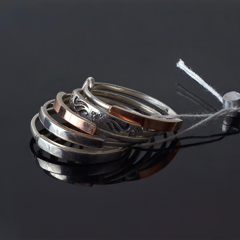 Серебряное кольцо с золотом - 5 колец в одном