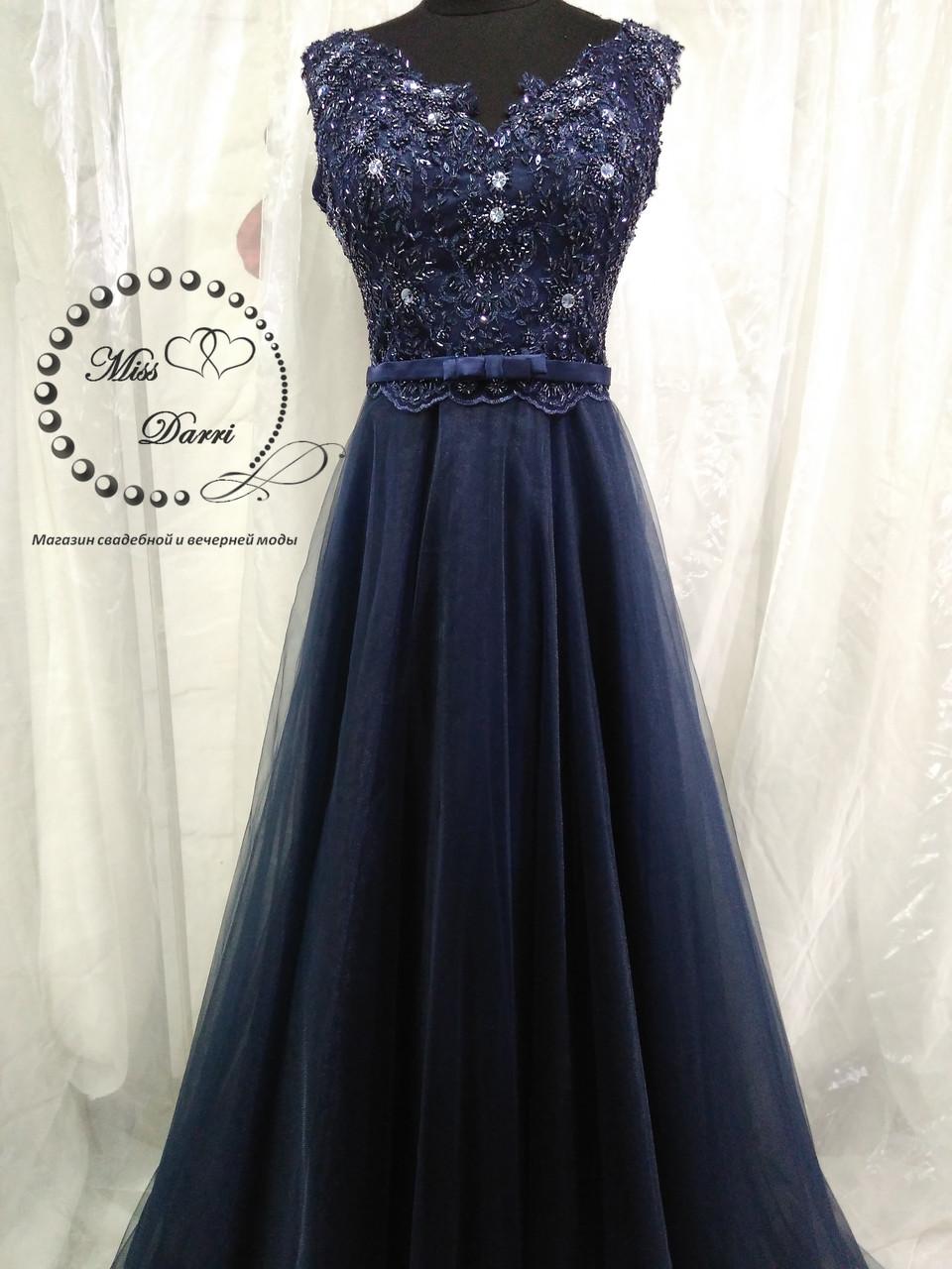Вечернее платье выпускное платье синее