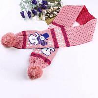 Теплый шерстяной шарф для детей со снеговиком и помпонами Розовый