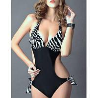 Стильный Холтер Zebra для печати вырезать Цельный купальник для женщин 65025