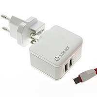 Сетевой адаптер (зарядное устройство) LDNIO A2203 2xUSB 2.4A + кабель micro USB