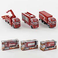 Пожарная машина металлопластик 2007 (144) 3 вида, 1шт в коробке