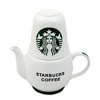 Набор оригинальных чашек и чайник, купить кружки для чая, кофе Youngpig «Starbacks»  (295)