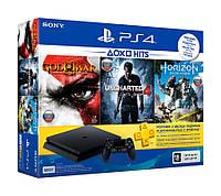 Игровая приставка Sony PlayStation 4, 500 Gb, Slim, Black + Horizon Zero Dawn + Uncharted 4 + God of War 3 + подписка PlayStation Plus на 3 месяца