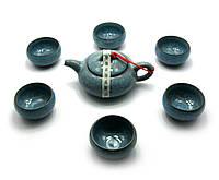 """Сервиз чайный керамический """"Бирюза"""" (чайник и 6 чашек)"""