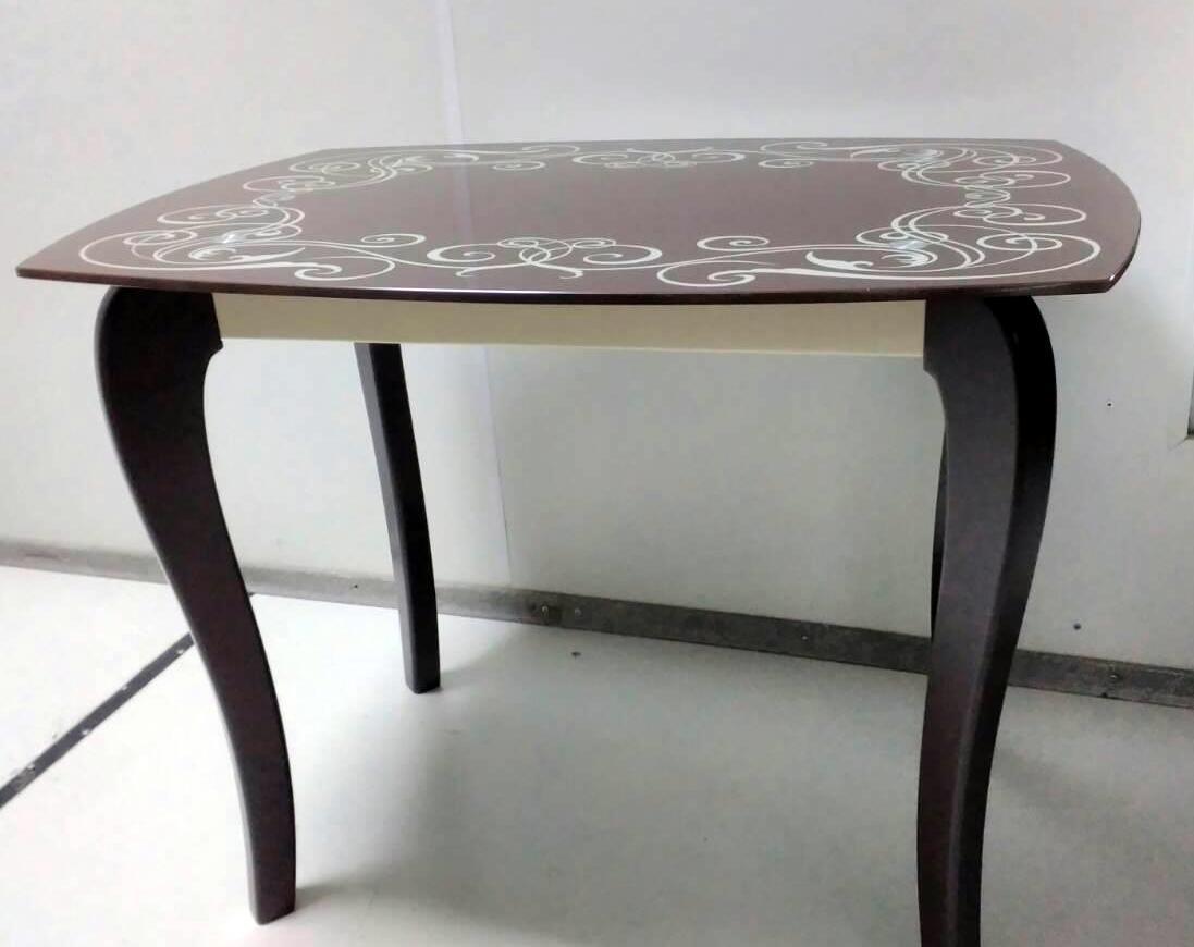Стеклянный стол для кухни с рисунком ДКС Классик-2 Антоник, цвет на выбор