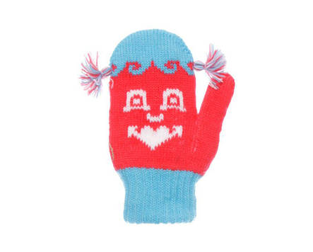 Дитячі теплі красиві в'язані рукавиці з пензликами., фото 2