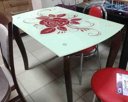 Стол обеденный со стеклянной столешницей  ДКС Классик-4 Антоник, цвет на выбор, фото 2