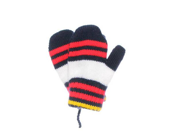 Дитячі теплі красиві в'язані рукавиці з смужками., фото 2