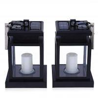 2шт солнечной энергии светодиодные Открытый фонарь Свеча Чёрный