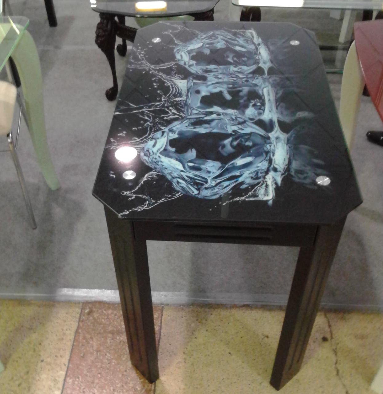 Стеклянный стол для кухни с рисунком ДКС Модерн Антоник, цвет на выбор