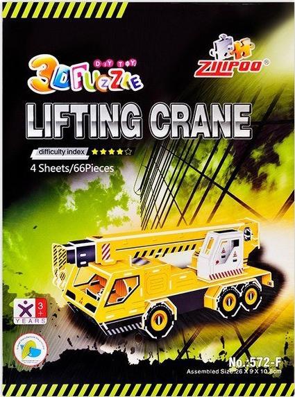 3D пазлы или 3 д конструктор, купить детские 3д пазли Строительные машины, «Кран»
