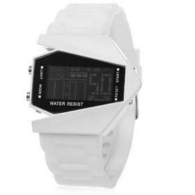 Красочные светодиодные часы в модели самолета - Белый