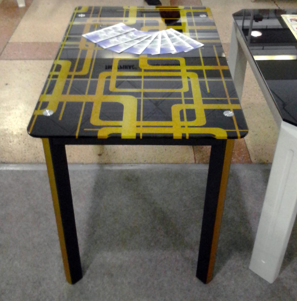 Стеклянный стол для кухни с рисунком ДКС Престиж Антоник, цвет на выбор