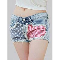 Стильный Star Print Полосатый Женщины джинсовые шорты L