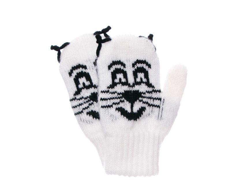 Дитячі теплі красиві в'язані рукавиці з малюнком котика.