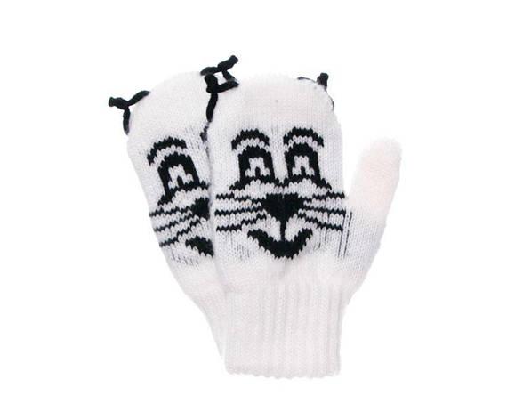 Дитячі теплі красиві в'язані рукавиці з малюнком котика., фото 2